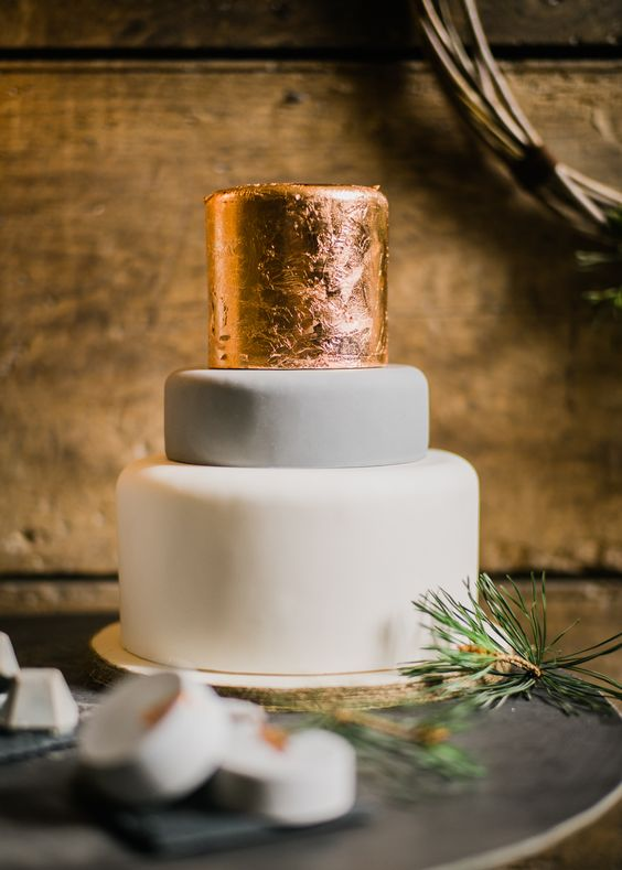 Copper Wedding Cake - Stylish Winter Wedding Inspiration With Firs Foliage & A Muted Colour Palette Styling by Blue Wren Barn Images by John Barwood Photography:
