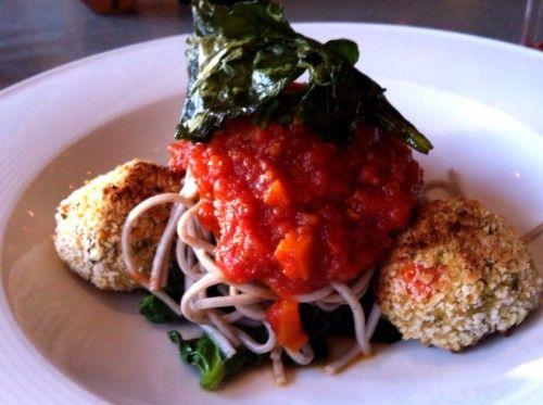 "White Bean ""Meat"" Balls over soba noodles (vegan) at Haven @small_bites #hvrw"
