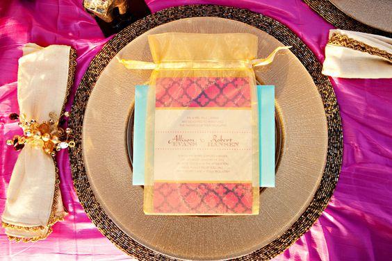 Arabian inspired wedding invite. Fuchsia, purple, gold & turquoise invitation for Jasmine wedding.