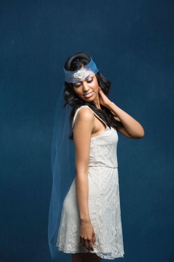 Wedding Headpiece Boho Headpiece Wedding Veil by OverTheMoonBridal
