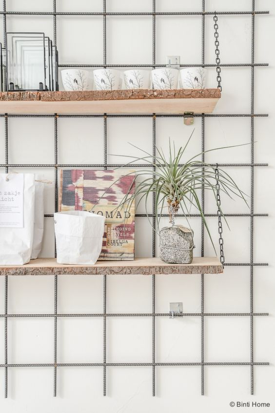 DIY Inspiration - Grid wall with shelving - A Daily Poetry Den Bosch  ©BintiHome