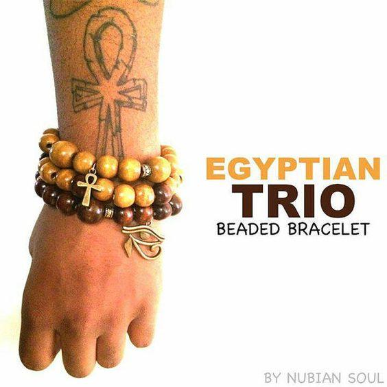 Egyptian Trio Beaded Bracelets by SoulArt9 on Etsy
