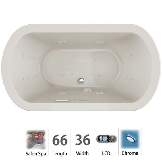 "Jacuzzi DUE6636CCR5CH Duetta 66"" Salon Spa Bathtub for Drop In / Undermount Inst Oyster / Chrome Trim Tub Air / Whirlpool Drop-In"