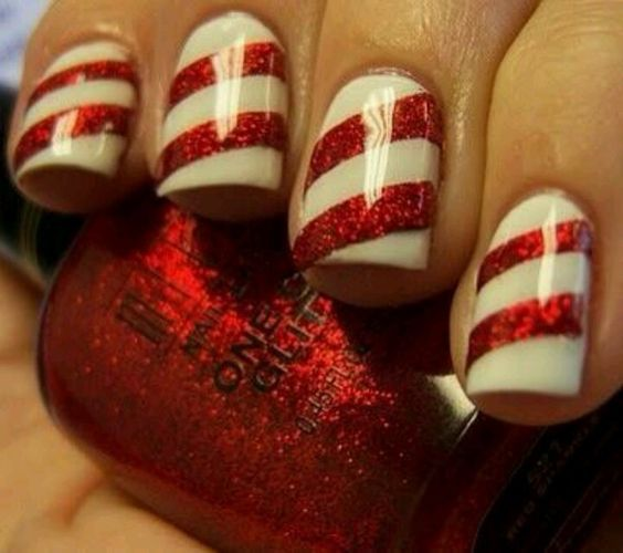 candy striped nails - Holiday Nails