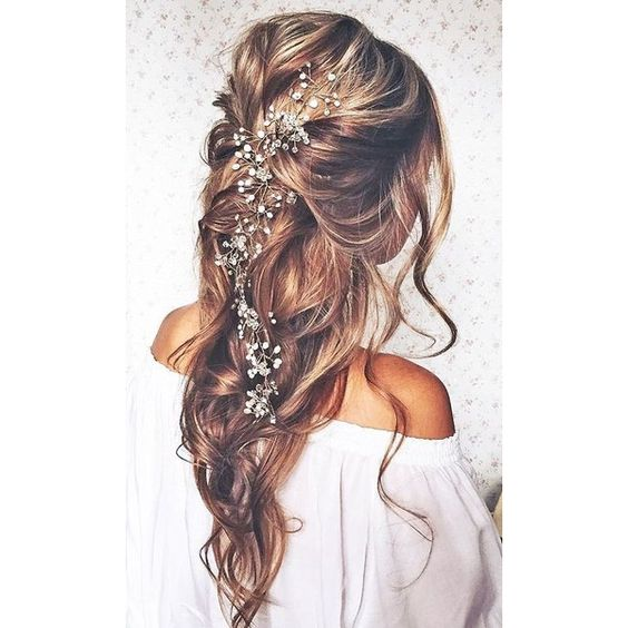 Top 10 Pins of the Week from Pinterest Boho Bridal Hair ❤ liked on Polyvore featuring accessories, hair accessories, bridal hair accessories, bride hair accessories, bohemian hair accessories and boho hair accessories