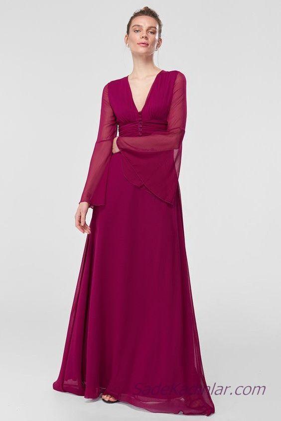 2019 Sifon Abiye Elbise Modelleri Mor Uzun V Yakali Uzun Kol Dugmeli Elbise Modelleri Elbise The Dress