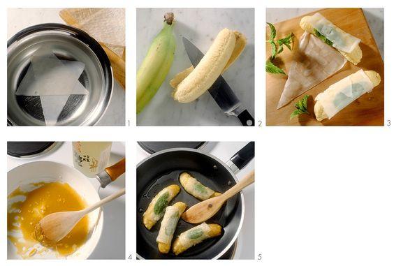 Gebratene Bananen im Reispapier   http://eatsmarter.de/rezepte/gebratene-bananen-im-reispapier
