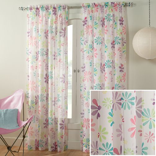 Daisy Semi Sheer Curtains - Floral Curtain Panel | International ...