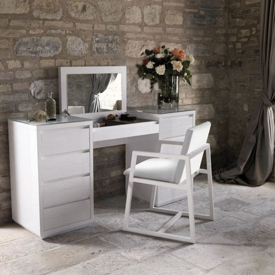 Modern dressing table white wood folding mirror casa bella for Modern vanity table with mirror and bench