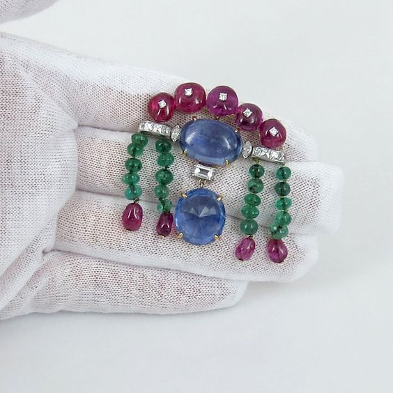 Agl Certified Natural 20ct Sapphire 15ct Ruby Emerald Diamondthis 18K Brooch | eBay