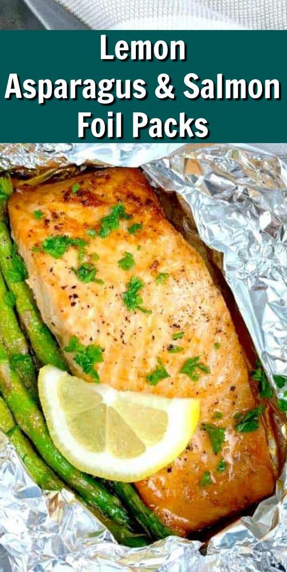 Lemon Asparagus & Salmon Foil Packs