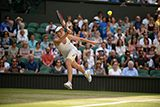 Simona Halep chases after a forehand