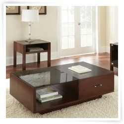 Steve Silver Lamar Rectangle Cherry Wood and Glass Coffee Table