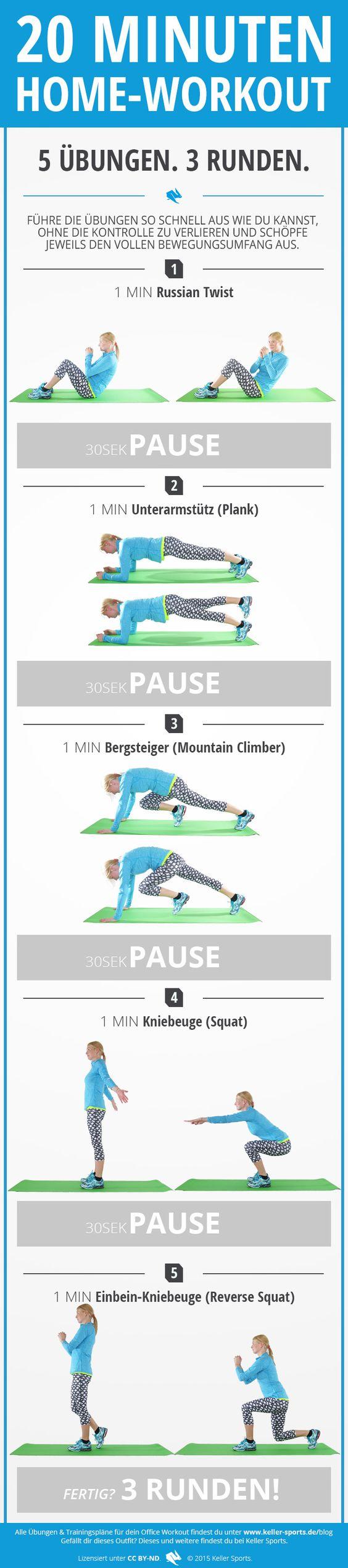 Du möchtest dich nach der Arbeit noch ein wenig auspowern? Mit unseren Übungen kannst du zuhause ein kleines Workout starten und dich fit halten.