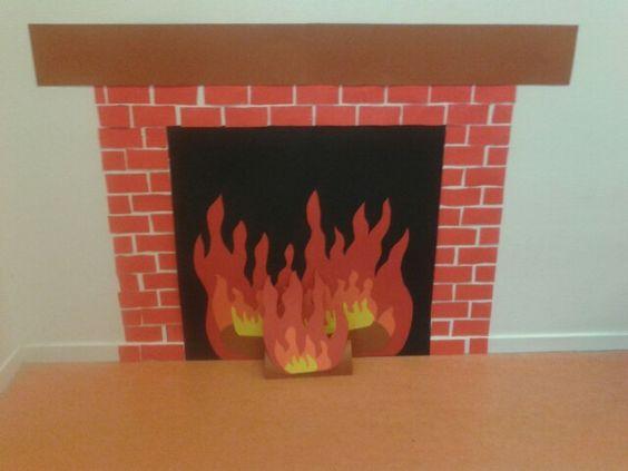 Simpele open haard om te maken in de klas. Handig wanneer je weinig ruimte hebt. Sfeervol in sint -en kersttijd. Fireplace easy to make.