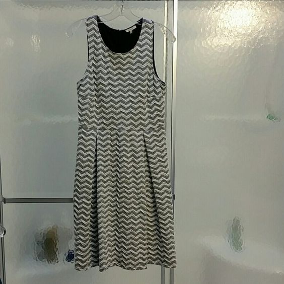 41 Hawthorn Dress From Stitch Fix Gray and white chevron pattern, A-line dress.only worn 2 or 3 times. 41 Hawthorn  Dresses Midi