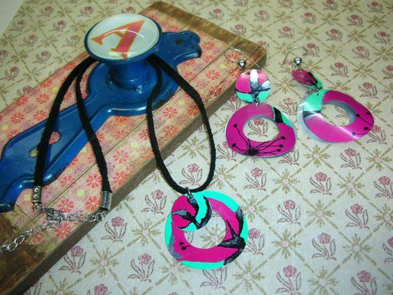 Earring & Necklace Set Upcycled Elegant Asian Blossom by alyskraps