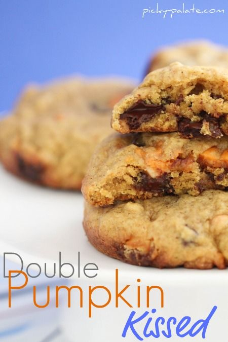 Double pumpkin kissed chocolate chunk cookies.  Uses Pumpkin Spice Hershey Kisses...which I have never seen!