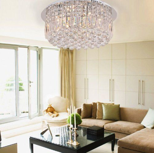Siljoy Round Clear Crystal Rain Drop Ceiling Light Fixture Modern