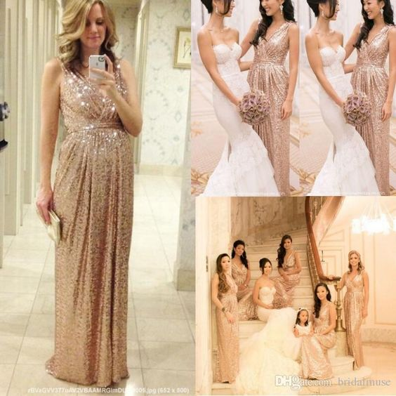 2017 Rose Gold Bridesmaids Dresses Sequins Plus Size Custom Made ...