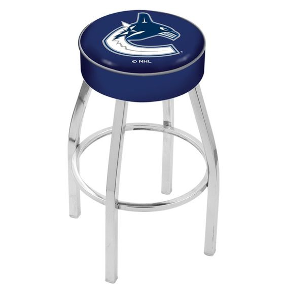 Vancouver Canucks NHL Chrome Bar Stool. Available in 25-inch and 30-inch Seat Heights. Visit SportsFansPlus.com for details.