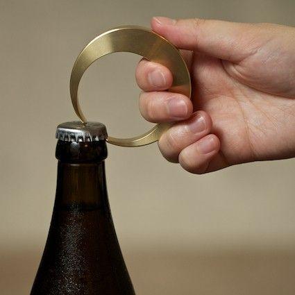 """Muhs Home - """"Crescent"""" Brass Bottle Opener"""