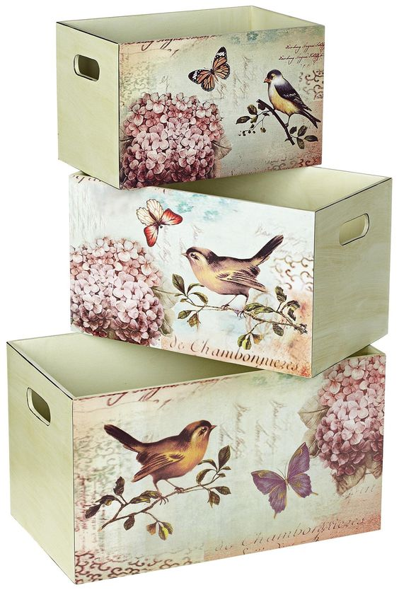 Set of 3 Bird Design Decorative Storage Boxes -: