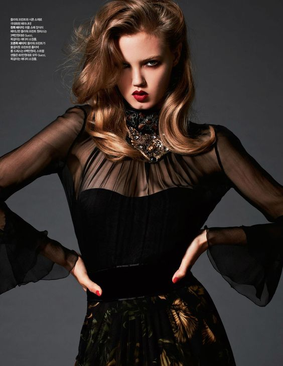 """Lady Black"" : Lindsey Wixson : Harper's Bazaar Korea November 2012 : Michael Schwartz"