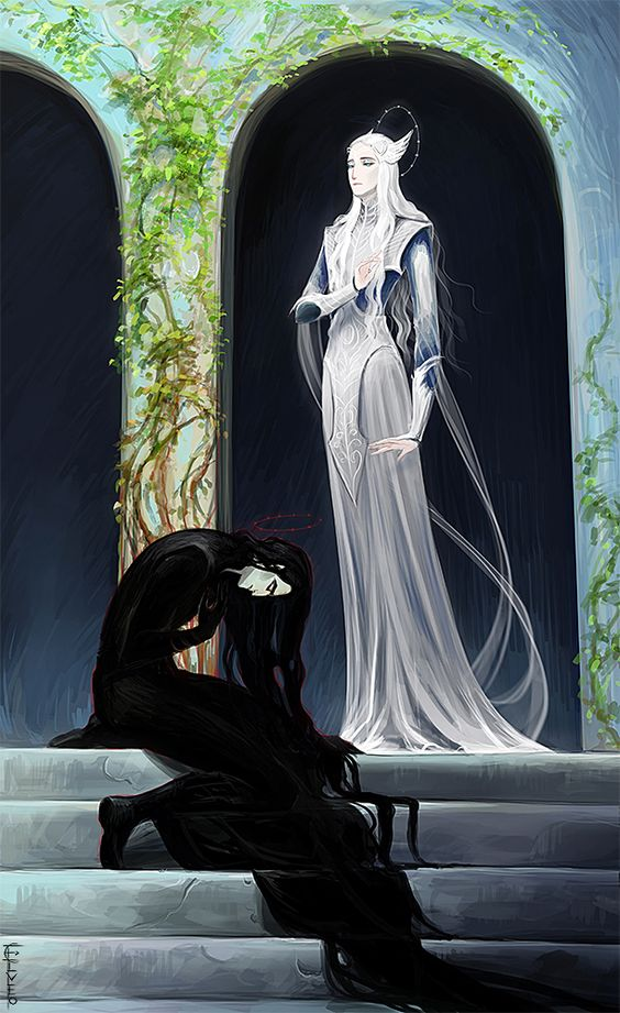 "elveo-art: ""…Melkor abased himself at the feet of Manwë and sued for pardon…. Then Manwë granted him pardon"""