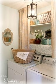 The Fancy Shack: The Laundry Room Makeover. Love the light fixture & wire basket!