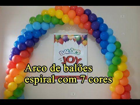 Arco De Baloes Espiral Com 7 Cores Arco De Baloes Arco Iris