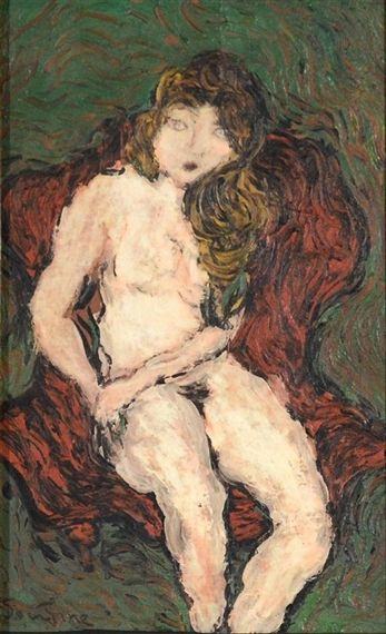 Chaim Soutine - Nude in Red Chair, Oil on paper on MutualArt.com