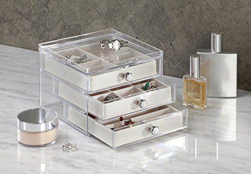 | Organizador de joyas antiara/ñazos etc Pl/ástico transparente anillos InterDesign Clarity Jewelry Joyero organizador collares Caja joyero con 3 cajones para relojes