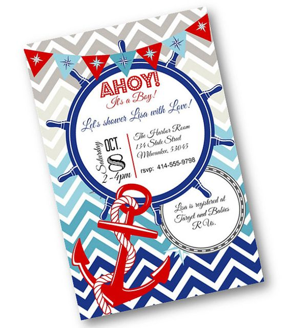 Red White Blue Nautical Anchor Baby Boy Baby Shower Invites  Ahoy its a boy!  CUTE! CUTE!