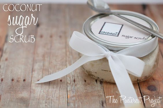 Quick, easy, fast, cheap: Coconut Sugar Scrub. Free printable goes right with it, easy to give as a teachers gift, neighbor gift, thank you gift, hostess gift, etc...