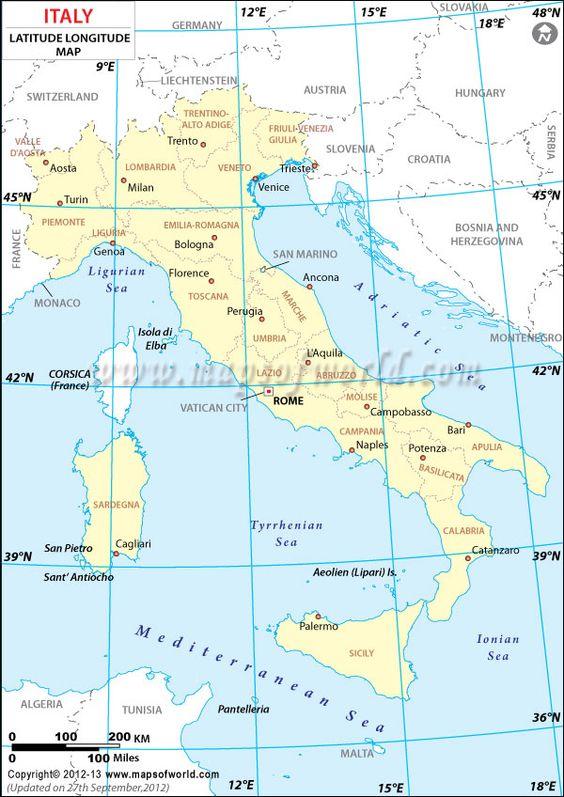 Italy Latitude And Longitude Map My Work Pinterest