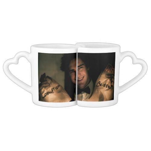 Business man holding bribery and corruption money couples mug