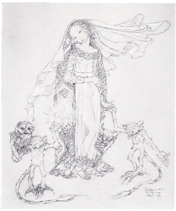Sulamith+Wulfing+Fairy+Tale+PRINCESS+Owl+on+GOBLIN+Vintage+1932+MATTED+Picture+#Vintage