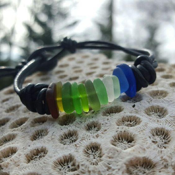 Seaglass rainbow bracelet