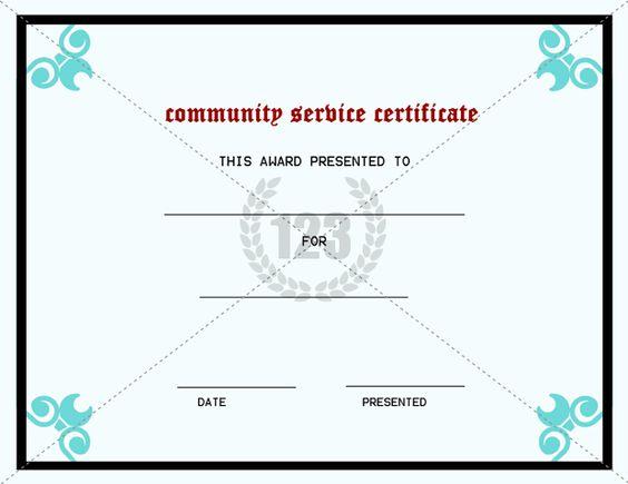 best community service certificate template