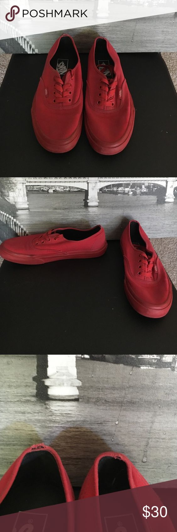 Red Vans Good condition red vans. Any questions please ask. Barley worn, has a little tear at back of shoes as you could see in pictures. Always accepting reasonable offers. Vans Shoes Sneakers