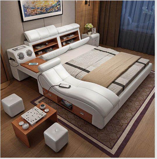 Genuine Leather Bed Frame Soft Beds Massager Storage Safe Speaker Led Light Bedroom Cama Muebl Lit Design Moderne Amenagement Chambre A Coucher Meuble De Style
