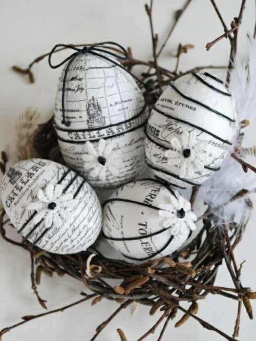 Decorazioni pasquali in bianco - Uova pasquali decorate Easter decorations in white - Decorated Easter eggs