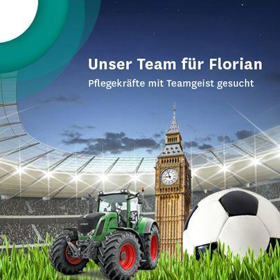 Florian sucht dich für sein Pflegeteam!  Florian wünscht sich Pflegekräfte, die gern mit ihm auf Piste oder ins Stadion gehen, aber auch das bayerisch-traditionelle Leben lieben. Toll wäre es, wenn du die Fußballbegeisterung von Florian teilen würdest.