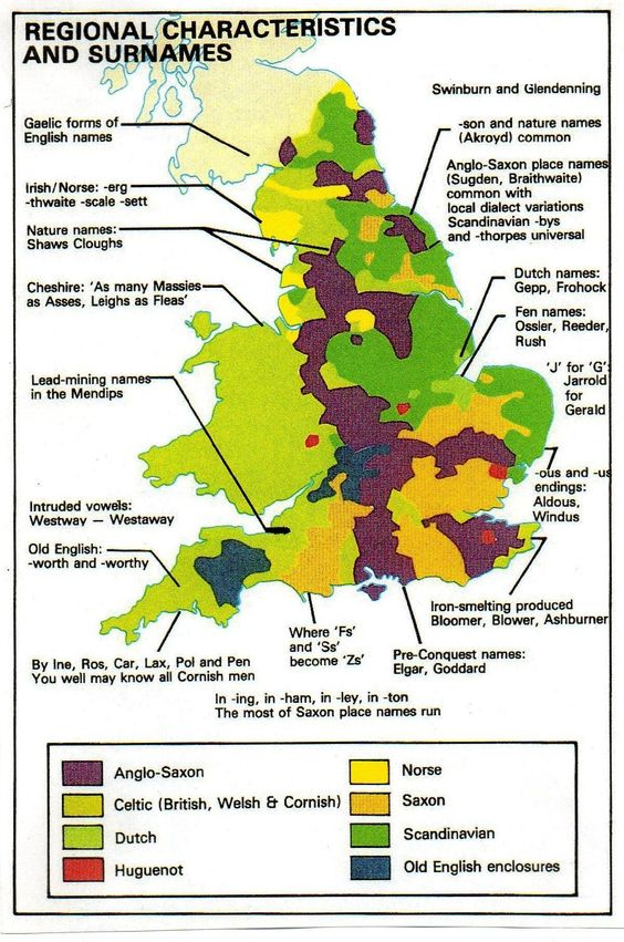 Geographic distribution of the historical origins of English [, Cornish] and Welsh surnames.