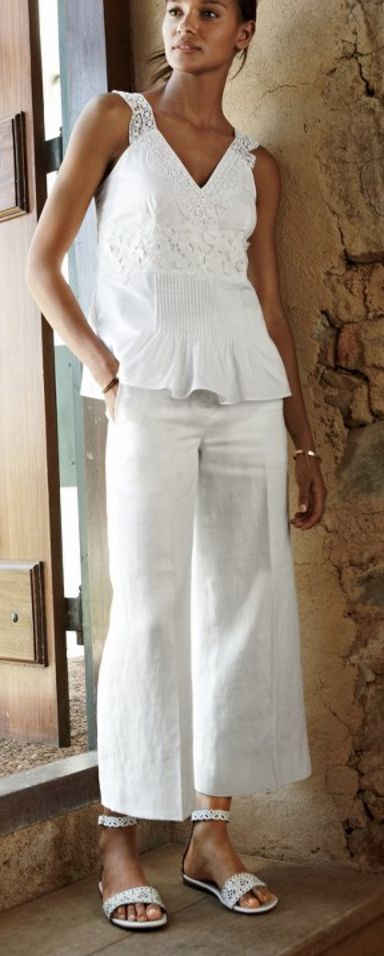 White Linen Gazebo Pants