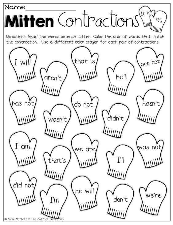 Printables Contraction Worksheets For First Grade mitten contractions color the mittens that match contraction colorcontractions worksheet first grademitten