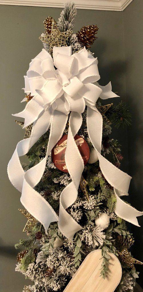 The Vanna White Oversized Christmas Tree Topper Bow Xl Christmas Tree Bows Tree Topper Bow Christmas Tree Topper Bow