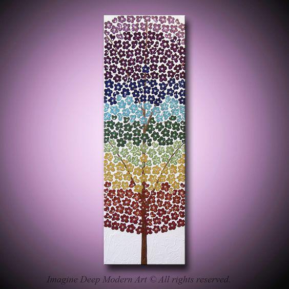 Flower Tree Painting Chakra Blossom Rainbow - Beautiful Flowers and Blossoms - 10x 30 High Quality Original Modern Fine Art. $175.00, via Etsy.