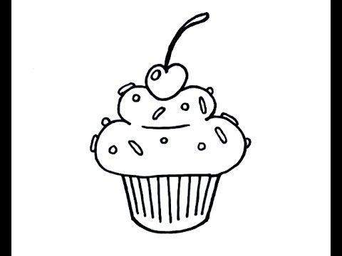 How To Draw A Simple Cartoon Cupcake Beginner Youtube Cartoon Cupcakes Simple Cartoon Cupcake Drawing